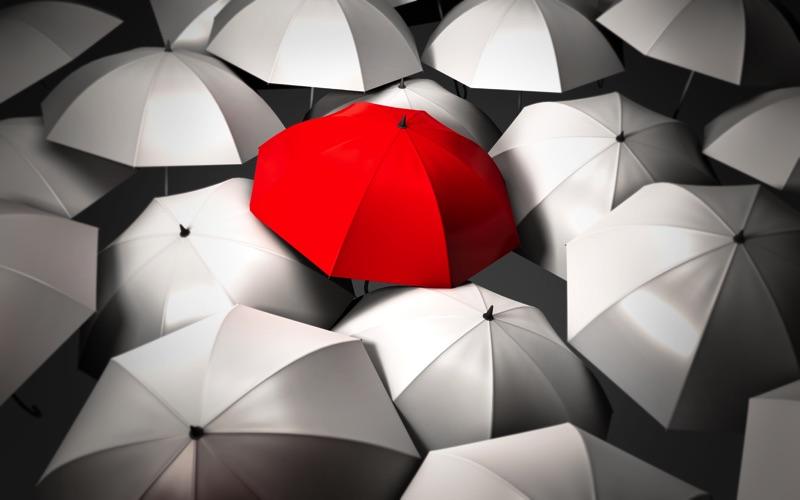 Muchos paraguas grises y un paraguas naranja al centro