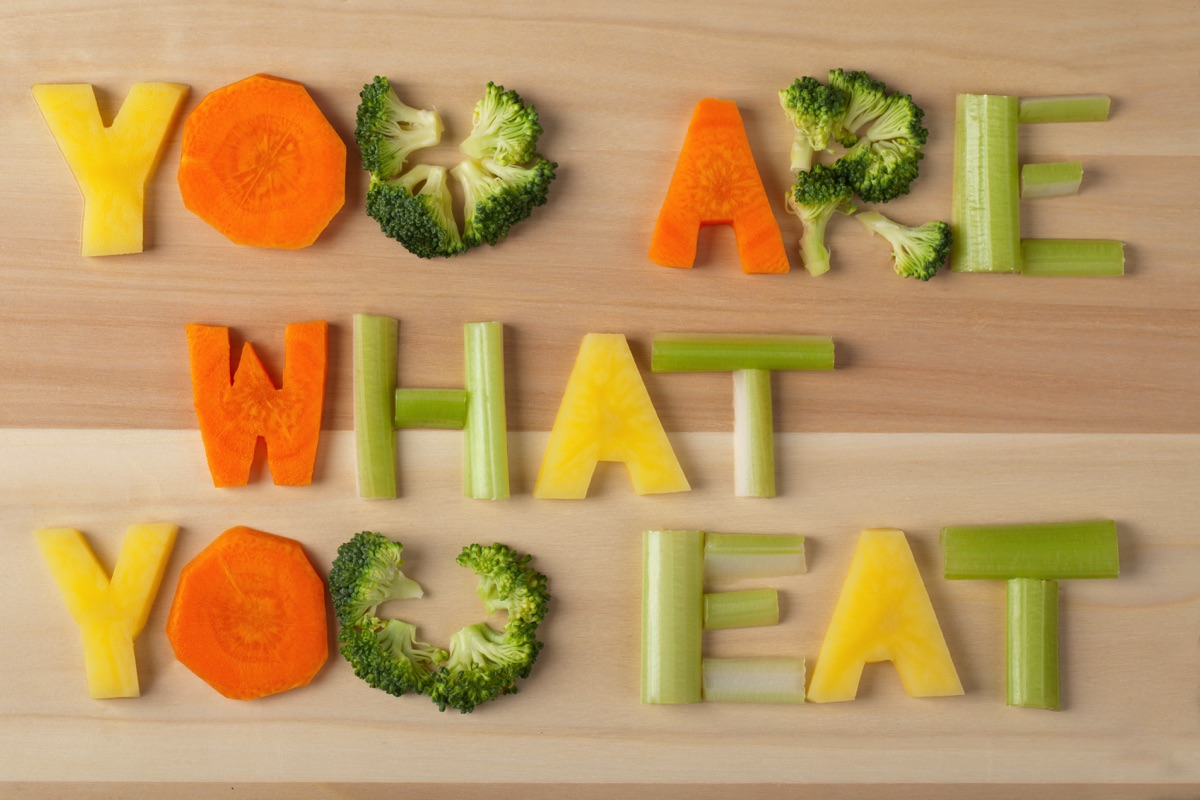 Verduras formando el texto You Are What You Eat